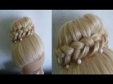 Лёгкая Причёска Пучок с бубликом на выпускной, на свадьбу.Donut Hairstyle.Coiffures.Peinados