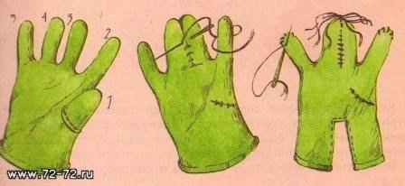 Как сделать куклу на руку из перчатки