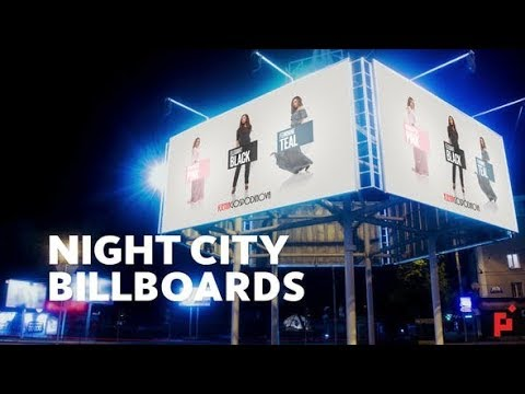 Night Billboard Mockup After Effects templates videohive
