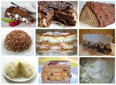 """1. Шоколадный торт """"Минутка""""   2. Пряничный торт (без выпечки)!   3. Торт без выпечки """"Домик""""."""