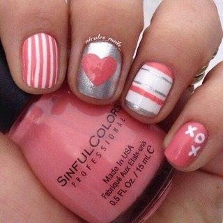 Дизайн ногтей с днем святого валентина