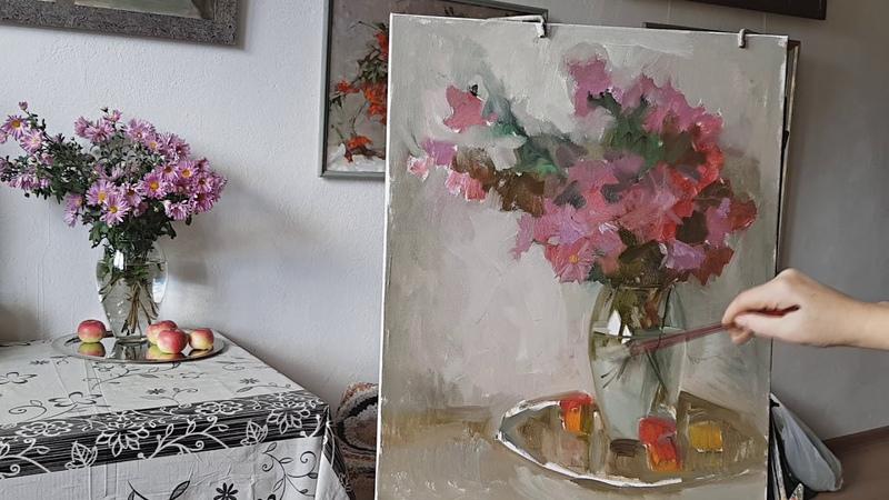 Хризантемы Живопись маслом
