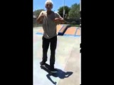 Old Man Shows Off Skateboard Skills