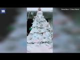 Видео Китаянка из 40 мешков из-под цемента сшила себе свадебное платье
