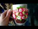 Кружка с декором. Корзина с цветами