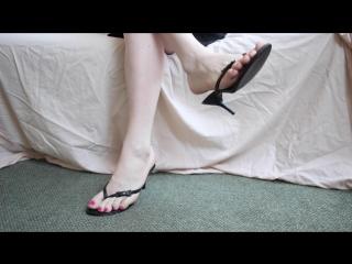 black mule sandals, hot pink toes - cd-tgirl feet