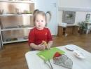Кристина. Кулинария - чистка, резка, перекладывание пинцетом банана.