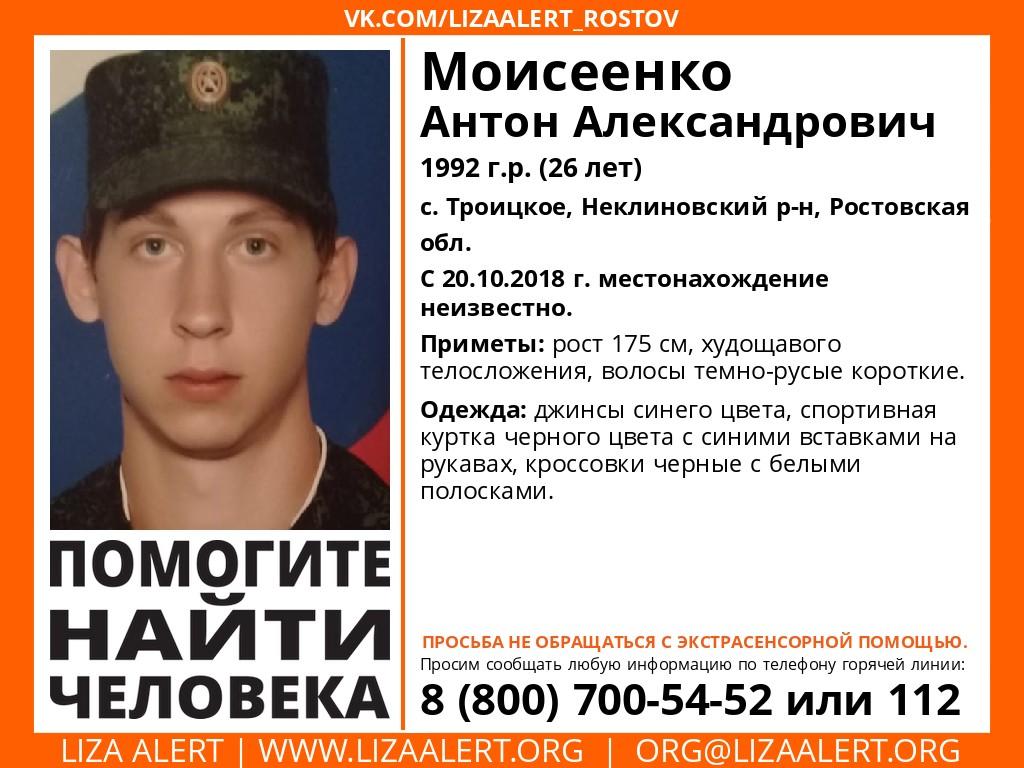 Под Таганрогом разыскивают без вести пропавшего 26-летнего Моисеенко Антона