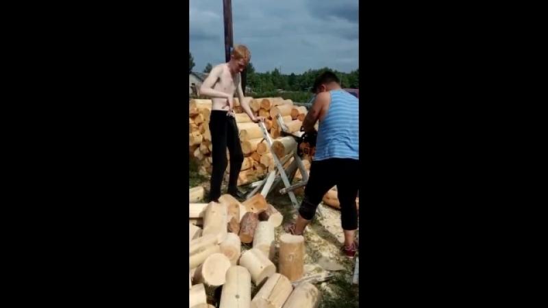 Рыжий и Ден заготавливают дрова