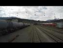 Путешествие на поезде. Вид из кабины поезда Австрия - Германия