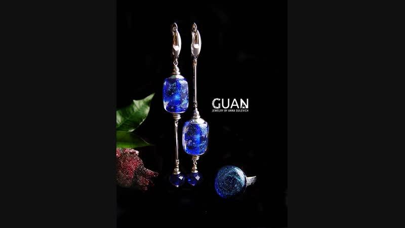 Сережки и кольцо с дихро- стеклом ручной работы @GUAN.studio