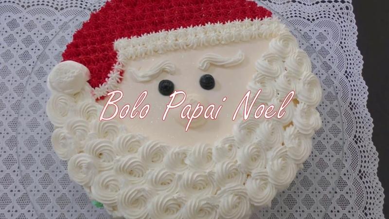 Bolo Papai Noel - Como decorar bolo de natal passo a passo. natal