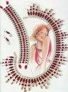 красно-белое колье и браслет из бисера. комплект украшений из бисера и булавок.