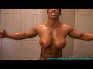 Muscle pumping before brutal wrestling match