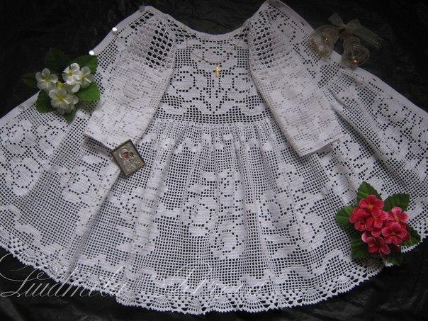 Вязание крючком крестильного платья для девочек 747