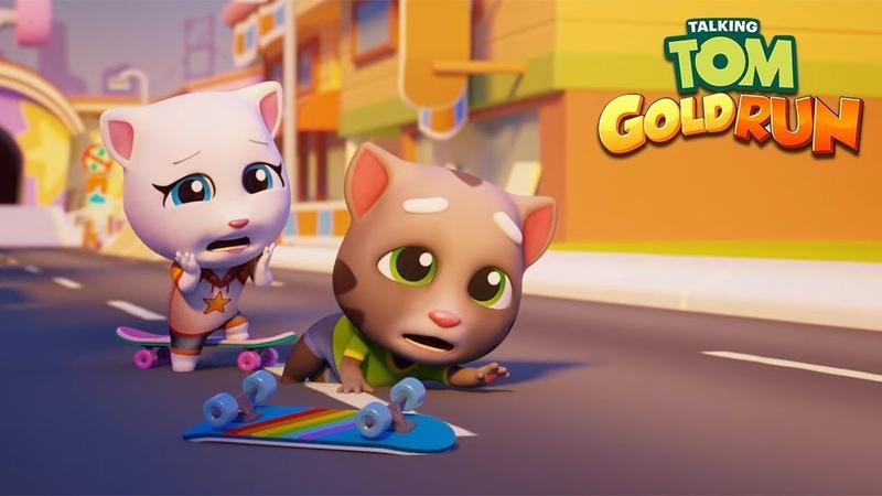 Talking Tom Gold Run Android Gameplay - Talking Tom vs Skater Angela vs Raccoon Robber