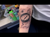 Тату-мастер Катя Маслова (realistic tattoo compass and map) Тату - студия Дом Элит Тату (Tattoo Studio Moscow)
