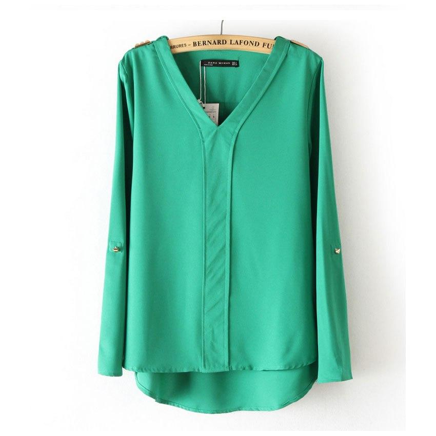 шифоновая блузка с длинным рукавом купить