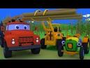 Трактор Макс встретит грузовик - лесовоз и погрузчик. Поможем перевезти бревна. Мультик для малышей