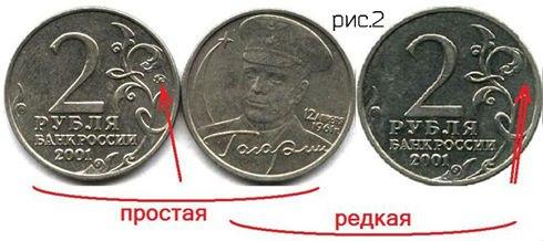 2 рубля 2001 года с Гагариным какова цена