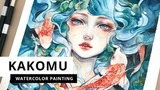 Kakomu Watercolour Process (Timelapse) by Margaret Morales
