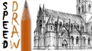 How to draw a gothic church architecture speed drawing