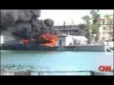 Горящий Грузинский корабль в Поти, подбитый Русскими в войне 8-8-8
