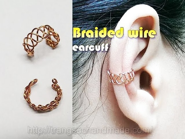 Braided wire ear cuff - unisex jewelry for both men and women 356