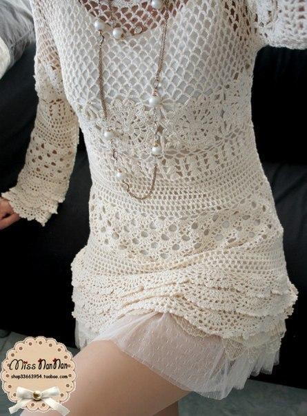 Вязаное платье крючком. (9 фото) - картинка