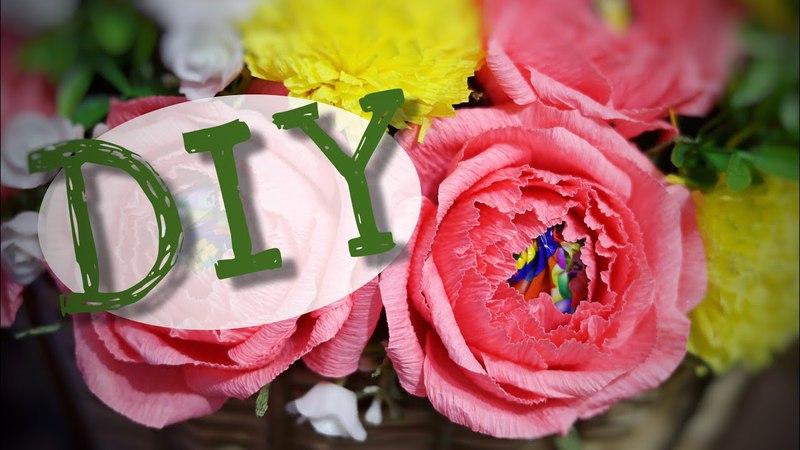 Кустовая роза 🥀 с конфетой 🍬 из гофрированной бумаги. DIY. Роза из бумаги