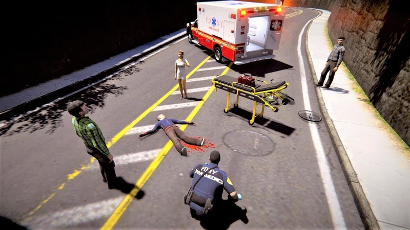 EmergeNYC EMS Callout Biker Hit By Car - FDNY Engine 78, Ambulance NYPD Responds