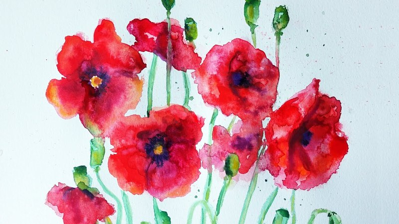 Watercolor Poppies Tutorial | Speed Painting