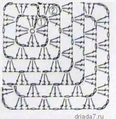 Схема вязания пледа от угла крючком схема