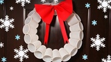 Recycled Christmas Crafts - Plastic Cups Wreath - Christmas Tree Ornaments