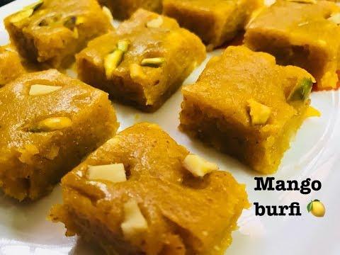 Mango Burfi Recipe   How to make Mango Burfi   Mango Coconut Burfi Recipe