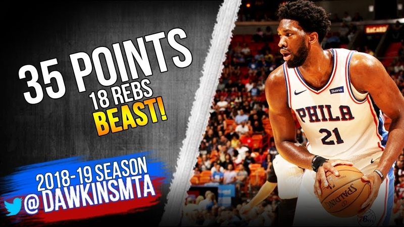 Joel Embiid Full Highlights 2018.11.12 76ers vs Heat - 35 Pts, 18 Rebs, BEAST! | FreeDawkins