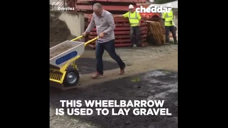 This wheelbarrow is used to evenly lay gravel.
