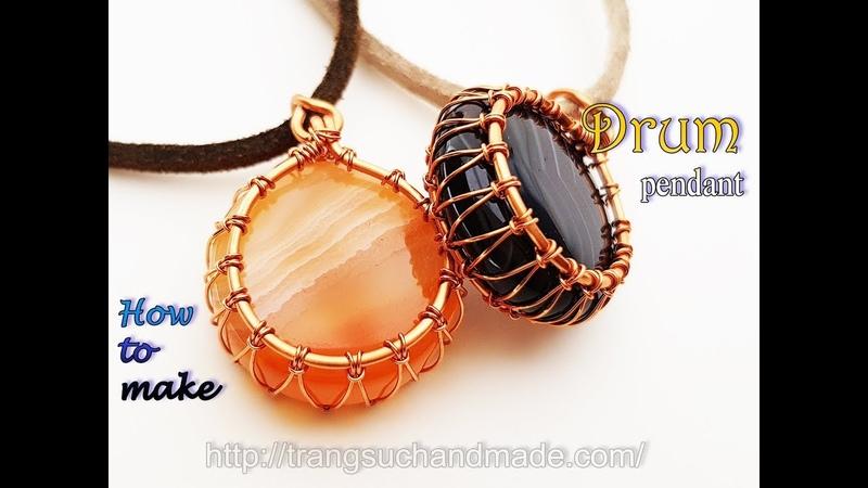 Drum pendant with flat round stones without hole use basic macrame knot 413
