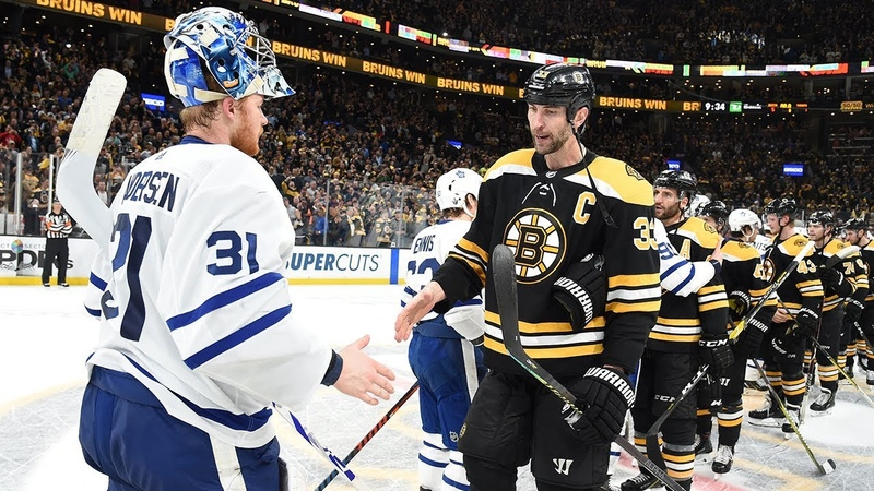 Bruins Maple Leafs shake hands after Boston advances with Game 7 win