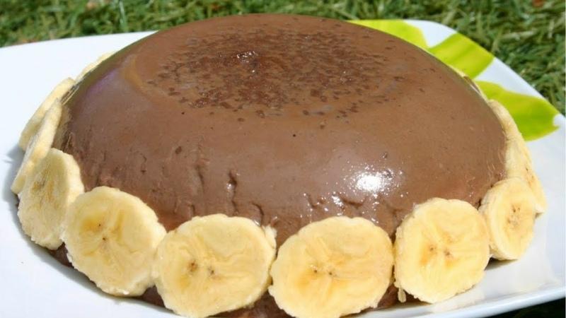Испанский шоколадный флан с бананом / Un flan de chocolate con plátano
