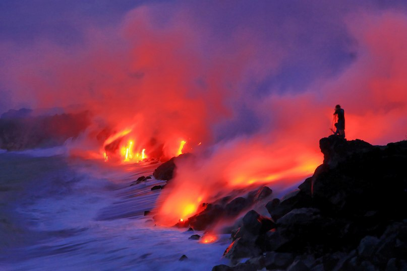 lava, ocean, hawaii, volcano
