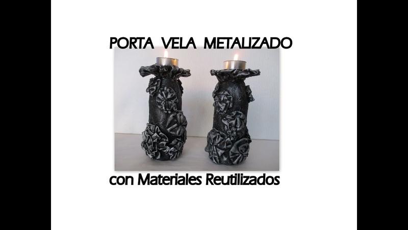 COMO HACER PORTA VELA CON MATERIAL RECICLADO. Candelabro de botellas de vidrio imitación metal