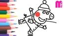 РАСКРАСКА для детей СВИНКА ПЕППА Как нарисовать ПЕППУ на коньках из мультика Peppa Pig | Merry Nika