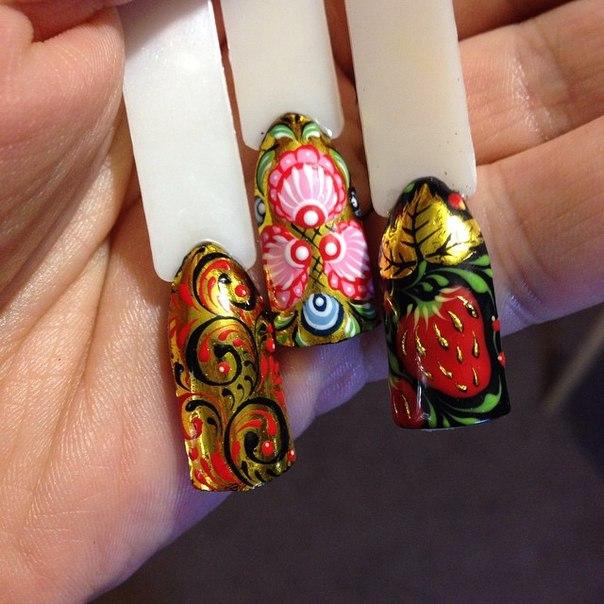Ногти дизайн хохлома фото