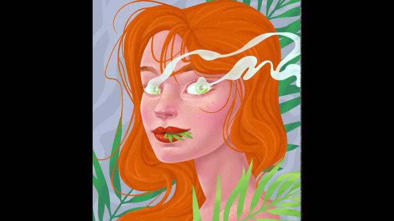 Weed Girl Digital Painting Process Procreate