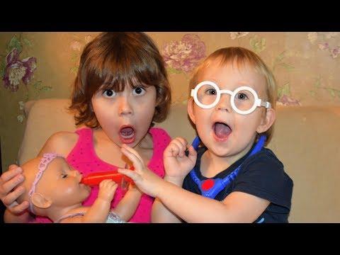 Кто доктор куклы Беби Бон? Малыш стал врачом пупсика. Children Pretend Play with Baby Doll