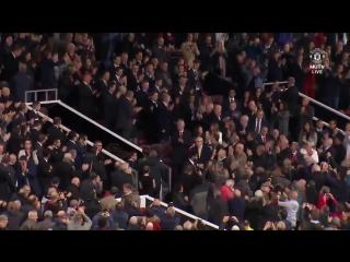 Sir Alex Ferguson raises his fist in the air in his first public appearance since suffering a brain haemorrhage.