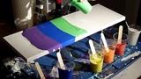 Acrylic pour, wet paper towel swipe, rainbow colors, glow in the dark paint