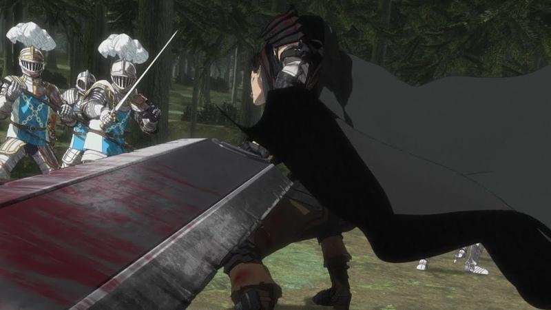 Берсерк ➤ Гатс против солдат Фарнезы и Азана