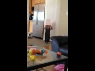 Little Kid Runs Into Wall With Bag on Head (MUST SEE)